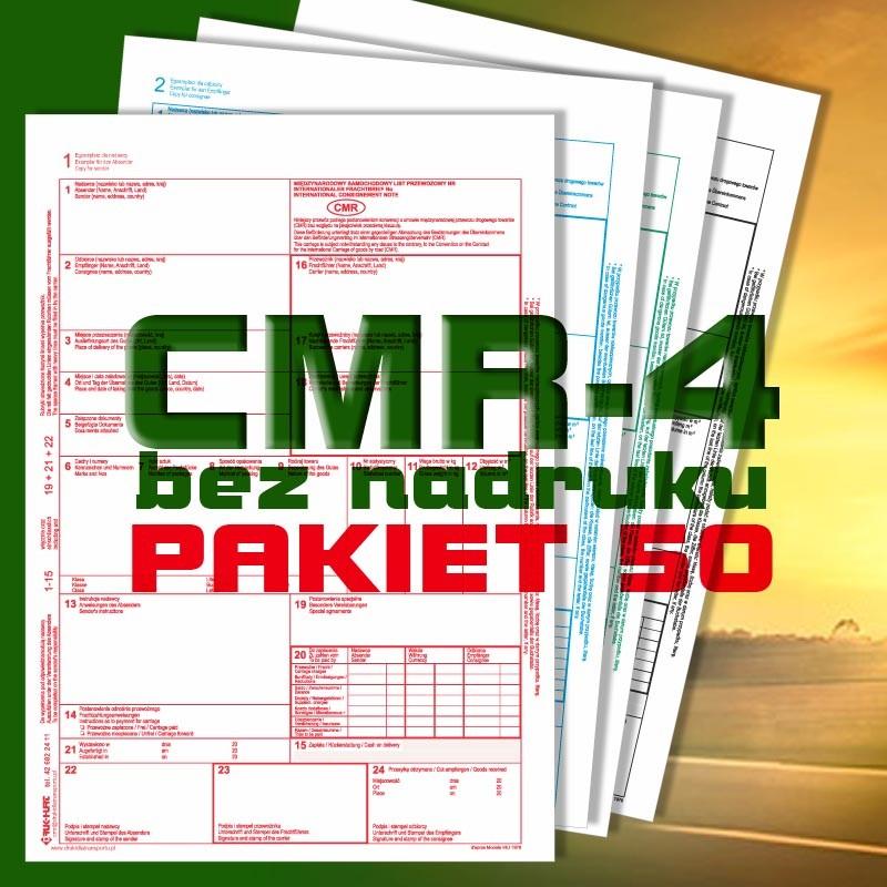 CMR 4 50 bloczków, CMR czyste, CMR Międzynarodowe Listy Przewozowe, drukidlatransportu.pl